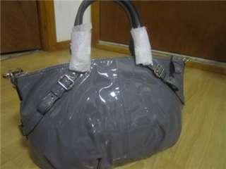 COACH 15921 Madison Patent Leather Sophia Satchel Dark Gray Bag Tote