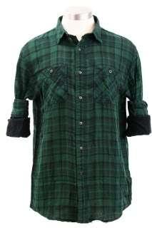 Nautica Mens Casual Shirt Long Sleeve Plaid Button Front 100% Cotton