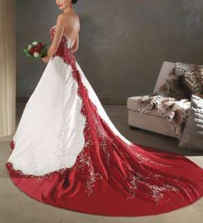 Strapless white and red Wedding Prom Dress Size custom