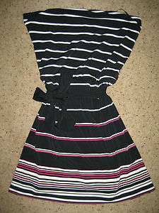 New White House Black Market Pink White Striped Dress Tunic Top Belted