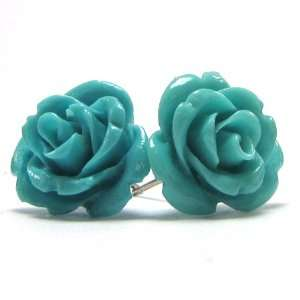 15mm coral carved rose flower earring pair blue