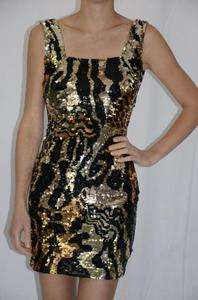 LN Black Tie by Oleg Cassini Gold Black Leopard Tiger Print Sequin