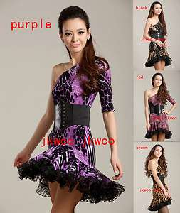 latin dance dress tango chacha salsa one shoulder dance costume