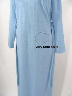 vintage 60s 70s Edith Flagg LIght Blue Wool Jersey Maxi Dress Gown