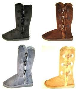 Womens 12 Tall Mid Calf Boots 3 Button Faux Sheepskin Fur Shearling 4