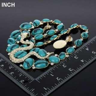 ARINNA Blue Stone jewel Rhinestone Snake Necklace Earring Set