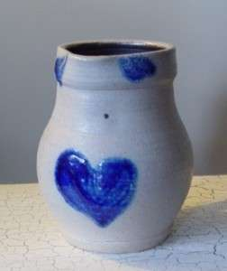 STEBNER POTTERY PITCHER WITH HEART DESIGN