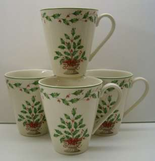 Lenox HOLIDAY Accent Mug HOLLY TREE 4 NEW