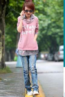 Korea Womens Faux Twinset 2 PCs Plaid Grids Pullover Shirt Sweats Tops