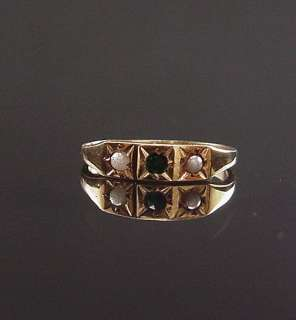 SWEET ANTIQUE VICTORIAN YELLOW GOLD SEED PEARL SYN EMERALD BABY RING
