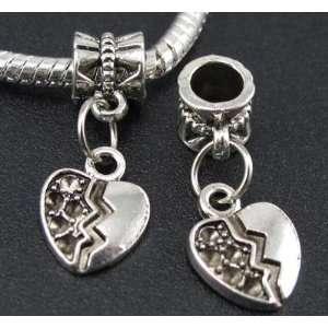 Silver Broken Heart Dangle Charm Bead for Bracelet or
