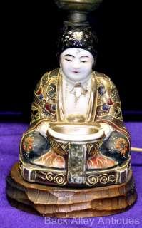 Japanese Porcelain Satsuma Moriage Boudoir Perfume Buddha Lamps