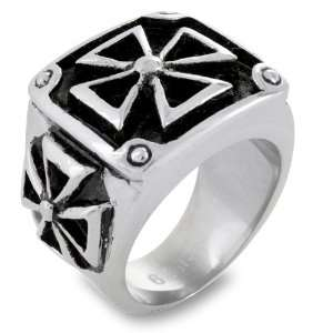 Large Stainless Steel Maltese Cross Square Ring with Black