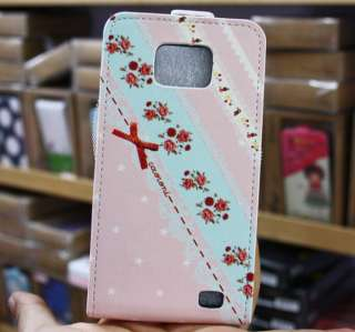 Fashionable Flip Bow Leather Case Cover For Samsung Galaxy S2 II i9100