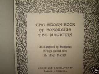 OCCULT GRIMOIRE SWORN BOOK of HONOURIUS BLACK MAGIC