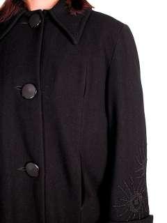 Vintage Black Wool Swing Coat Fab Sleeve Beading Details 1940s M XL