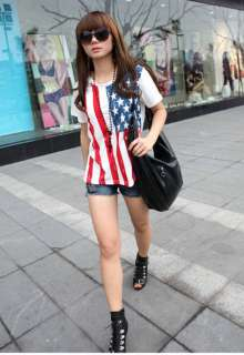 Casual Women United States Flag Ladies Scoop Neck Blouse Shirt Top