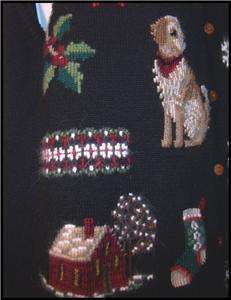 Womens Marisa Christina Christmas Dog Theme Sweater Vest Sz L Black