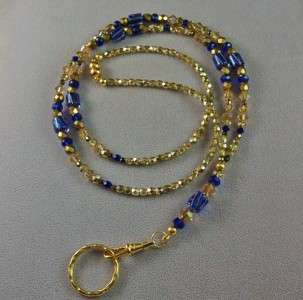 Cane Glass Lanyard Badge Holder made with Swarovski Crystals