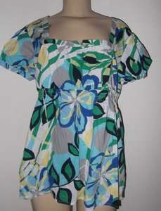 Womens XL Blue Green Yellow Design Short Sleeve Cotton Shirt