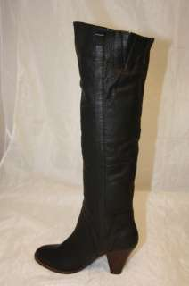 CAMPBELL NEW WOMENS 8 TALL SUPPLE BLACK LEATHER KNEE HIGH BOOTS ~n