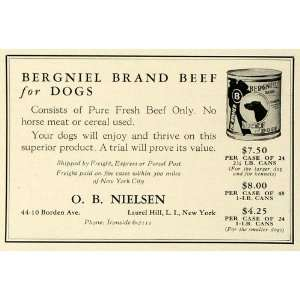 Ad O. B. Nielsen Bergniel Canned Beef Pet Dog Food   Original Print Ad