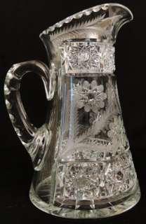 Antique Fry American Brilliant Cut Glass Crystal Pitcher & 6 Tumbler