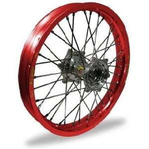 Pro Wheel Supermoto Rear Wheel Set   17x5.00   Red Rim/Silver Hub 27