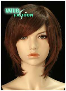Short Auburn Brown Hair Wig With Skin Top CK09