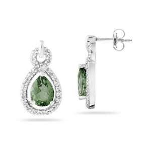 Pear Shaped Green Amethyst and Diamond Earrings in White