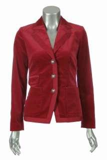 Sutton Studio Womens Tipped Velveteen Blazer Jacket