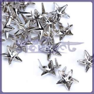 LOT 100 Silver Star studs Spike spot Punk ROCK Biker Leathercraft