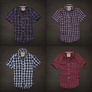 Hollister Mens Seagrove Button Plaid Shirt Navy Red Short Sleeve NWT