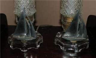 PAIR ART DECO Rare Glass Sailboat Bullet Boudoir Lamps