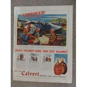 Calvert Whiskey ,Vintage 30s full page print ad (airplane/men sitting