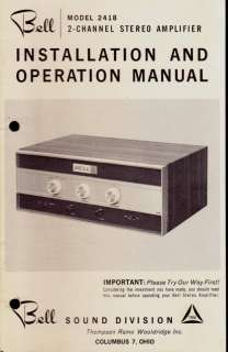 BELL MODEL 2418 INSTALLATION & OPERATION MANUAL