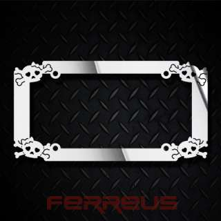 Chrome Style License Plate Frame Tattoo Tribal Polished Stainless