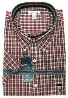 Mens Dark Red Plaid Relaxed Fit No Iron Button down Shirt NWT