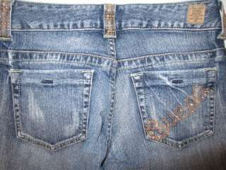 GUESS JEANS Classic BOOT CUT Low Rise 24 x 32 Rhinestoned Pockets HOT
