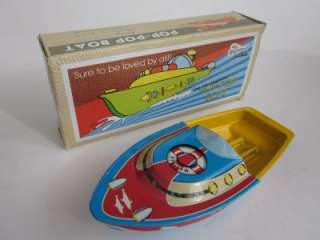 Boat Dolphin Putt Vtg Retro style Tin Litho Candle/Steam Power New/Box