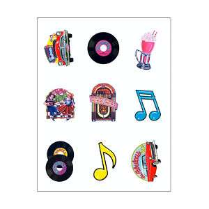 50s / 1950s Party ROCK & ROLL STICKER SHEETS   NEW