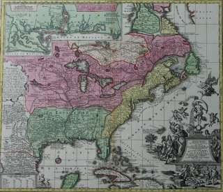 MAP OF NORTH AMERICA WITH LOUISIANA FLORIDA CANADA SEUTTER 1740