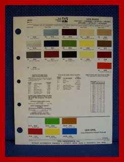 1976 BUICK Auto Paint Chip Colors Sheet   PPG Ditzler