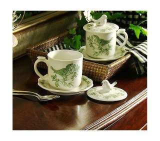 Set of Two Toile Bird Mugs with Lids by Valerie Parr Hill GREEN