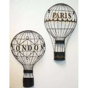 Hot Air Balloon Paris London Wall Art Set of 2: Home