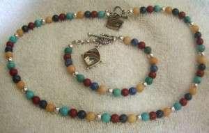 Carolyn Pollack Sterling Gemstone Necklace Bracelet Set