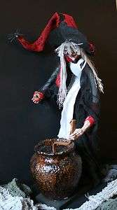 21  Witch Doll Figure with Caudron Halloween Decoration