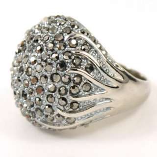 Marcasite Swarovski Crystal Cauliflower White gold GP Ring J62