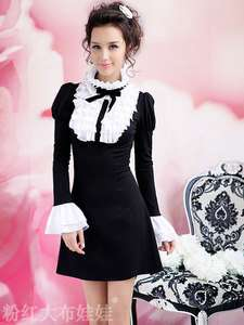 Kawaii Fashion Dolly Sweet Cute Princess Women Sleeves Lace Tie Black