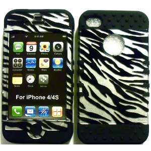 Silver Zebra on Black Silicone for Apple iPhone 4 4S Hybrid 2 in 1